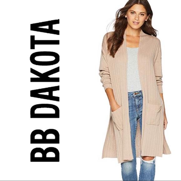 BB Dakota Sweaters - BB Dakota Dust It Off Pleated Long Camel Cardigan